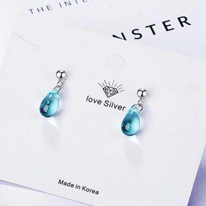 NEW 925 Sterling Silver Crystal Waterdrop Earrings